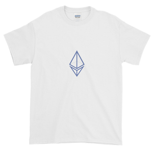 White Short Sleeve T-Shirt With Blue Ethereum Frame Diamond