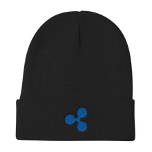 Load image into Gallery viewer, Black Beanie With Embroidered Blue Ripple Logo