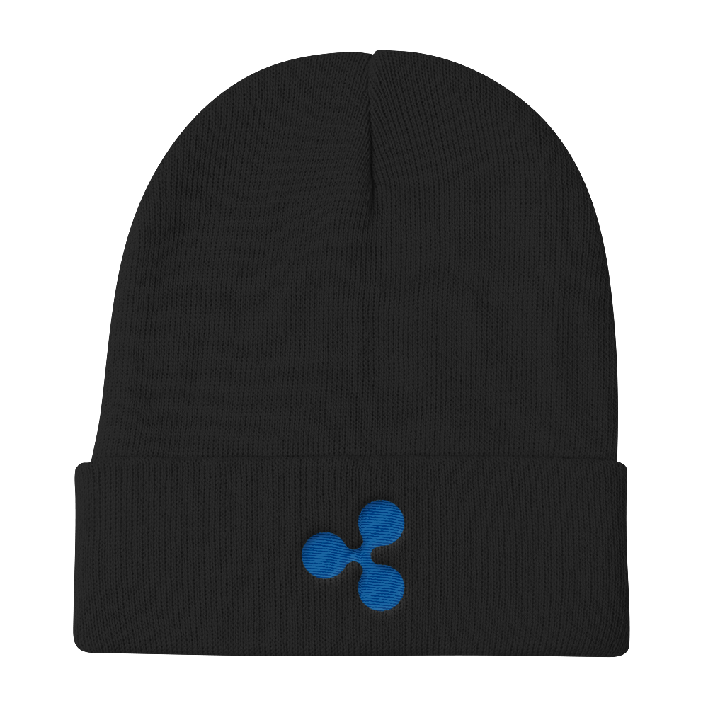 Black Beanie With Embroidered Blue Ripple Logo