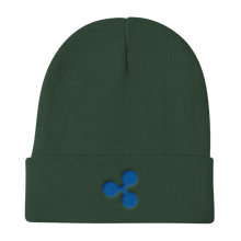 Load image into Gallery viewer, Forest Green Beanie With Embroidered Blue Ripple Logo
