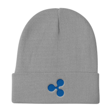 Load image into Gallery viewer, Grey Beanie With Embroidered Blue Ripple Logo