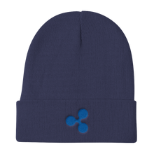 Load image into Gallery viewer, Navy Blue Beanie With Embroidered Blue Ripple Logo