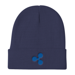 Navy Blue Beanie With Embroidered Blue Ripple Logo