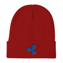 Load image into Gallery viewer, Red Beanie With Embroidered Blue Ripple Logo