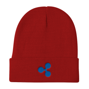 Red Beanie With Embroidered Blue Ripple Logo
