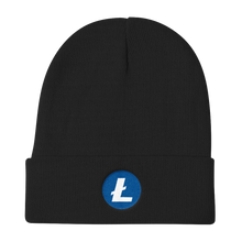 Load image into Gallery viewer, Black Beanie With Embroidered White and Blue Litecoin Logo