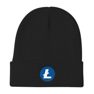 Black Beanie With Embroidered White and Blue Litecoin Logo