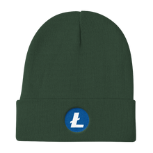 Load image into Gallery viewer, Forest Green Beanie With Embroidered White and Blue Litecoin Logo
