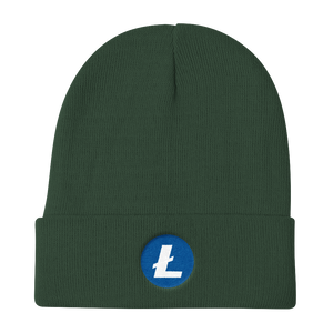 Forest Green Beanie With Embroidered White and Blue Litecoin Logo