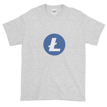 Load image into Gallery viewer, Ash Short Sleeve T-Shirt With Blue and White Litecoin Logo