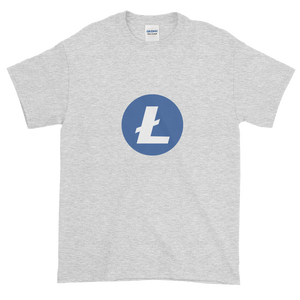 Ash Short Sleeve T-Shirt With Blue and White Litecoin Logo