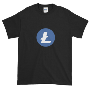 Black Short Sleeve T-Shirt With Blue and White Litecoin Logo