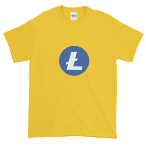 Yellow Short Sleeve T-Shirt With Blue and White Litecoin Logo
