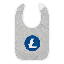 Load image into Gallery viewer, Grey Baby Bib With Blue and White Litecoin Logo