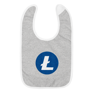 Grey Baby Bib With Blue and White Litecoin Logo