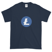 Load image into Gallery viewer, Navy Blue Short Sleeve T-Shirt With Blue and White Litecoin Logo