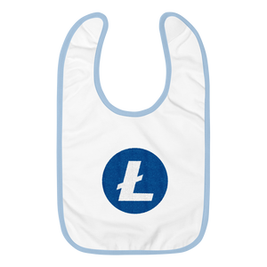 White Baby Bib With Blue Trim and White and Blue Litecoin Logo
