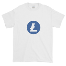 Load image into Gallery viewer, White Short Sleeve T-Shirt With Blue and White Litecoin Logo