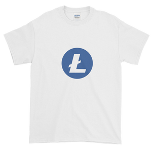 White Short Sleeve T-Shirt With Blue and White Litecoin Logo