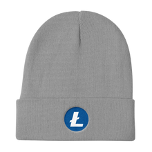 Load image into Gallery viewer, Grey Beanie With Embroidered White and Blue Litecoin Logo