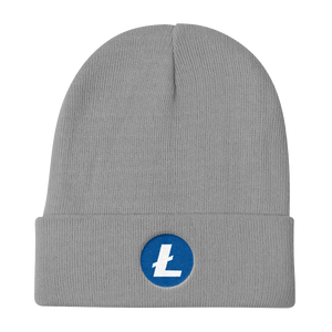 Grey Beanie With Embroidered White and Blue Litecoin Logo