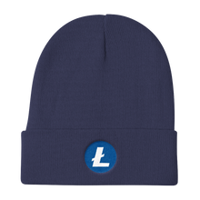 Load image into Gallery viewer, Navy Blue Beanie With Embroidered White and Blue Litecoin Logo