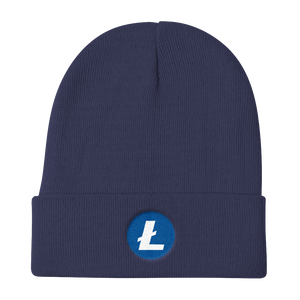 Navy Blue Beanie With Embroidered White and Blue Litecoin Logo