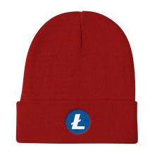 Load image into Gallery viewer, Red Beanie With Embroidered White and Blue Litecoin Logo