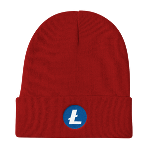 Red Beanie With Embroidered White and Blue Litecoin Logo