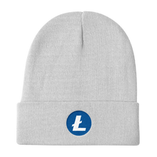 Load image into Gallery viewer, White Beanie With Embroidered White and Blue Litecoin Logo