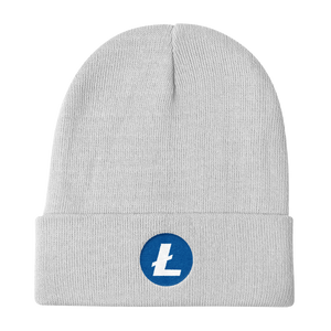 White Beanie With Embroidered White and Blue Litecoin Logo