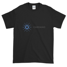 Load image into Gallery viewer, Black Short Sleeve T-Shirt With Grey and Blue Cardano Logo