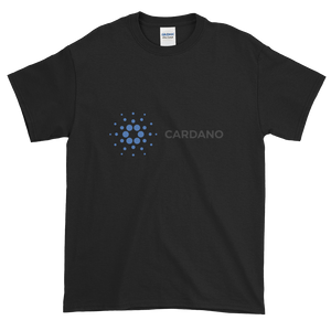 Black Short Sleeve T-Shirt With Grey and Blue Cardano Logo