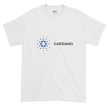 Load image into Gallery viewer, White Short Sleeve T-Shirt With Grey and Blue Cardano Logo