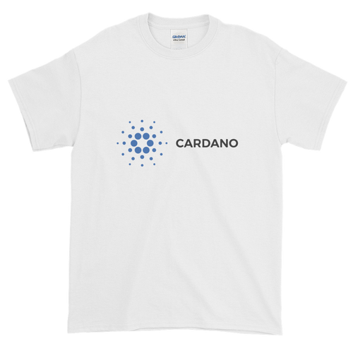 White Short Sleeve T-Shirt With Grey and Blue Cardano Logo