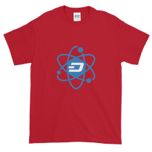 Load image into Gallery viewer, Cherry Red Short Sleeve T-Shirt With Blue and White Dash Logo