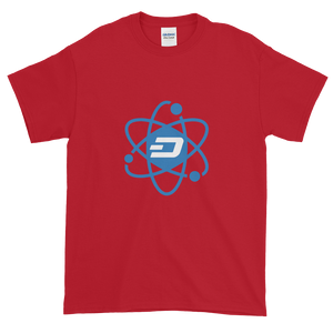 Cherry Red Short Sleeve T-Shirt With Blue and White Dash Logo