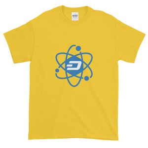 Yellow Short Sleeve T-Shirt With Blue and White Dash Logo