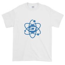 Load image into Gallery viewer, White Short Sleeve T-Shirt With Blue and White Dash Logo