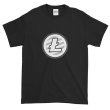 Load image into Gallery viewer, Black Short Sleeve T-Shirt With Grey And White Litecoin Logo