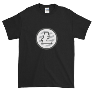 Black Short Sleeve T-Shirt With Grey And White Litecoin Logo