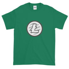 Load image into Gallery viewer, Green Short Sleeve T-Shirt With Grey And White Litecoin Logo