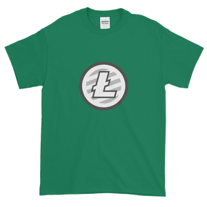 Green Short Sleeve T-Shirt With Grey And White Litecoin Logo