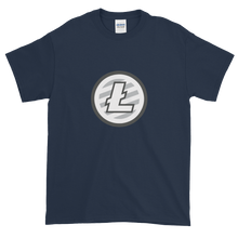 Load image into Gallery viewer, Navy Blue Short Sleeve T-Shirt With Grey And White Litecoin Logo