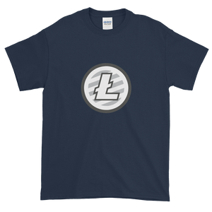 Navy Blue Short Sleeve T-Shirt With Grey And White Litecoin Logo