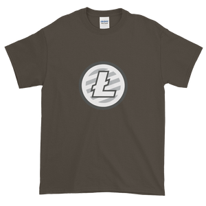 Olive Short Sleeve T-Shirt With Grey And White Litecoin Logo