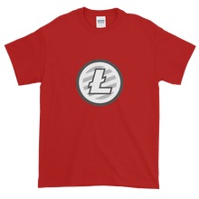 Load image into Gallery viewer, Red Short Sleeve T-Shirt With Grey And White Litecoin Logo