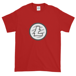 Red Short Sleeve T-Shirt With Grey And White Litecoin Logo