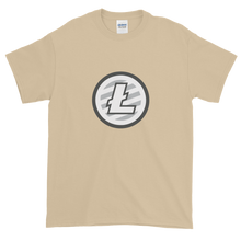 Load image into Gallery viewer, Sand Short Sleeve T-Shirt With Grey And White Litecoin Logo