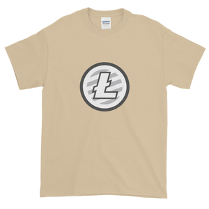 Sand Short Sleeve T-Shirt With Grey And White Litecoin Logo